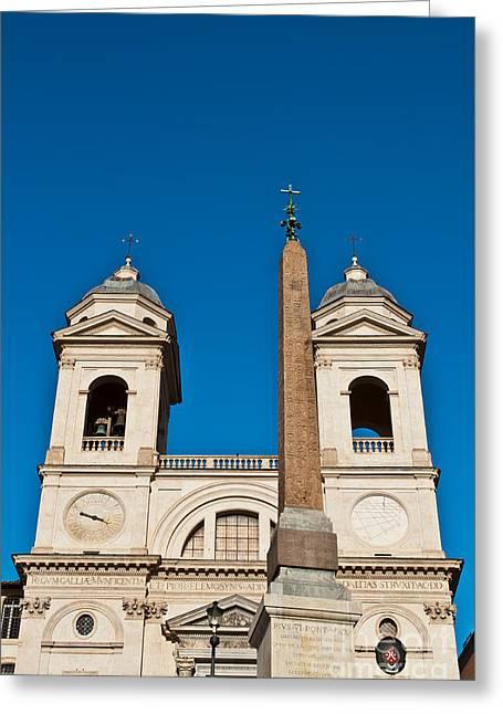 Medieval Temple Greeting Cards - Santissima Trinita dei Monti Church and Obelisk Greeting Card by Luis Alvarenga