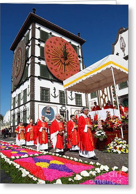 Festivities Greeting Cards - Santo Cristo festival Greeting Card by Gaspar Avila