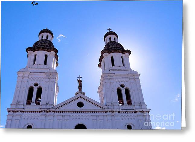 Saint Joseph Greeting Cards - Santo Domingo Church in Cuenca Ecuador Greeting Card by Al Bourassa