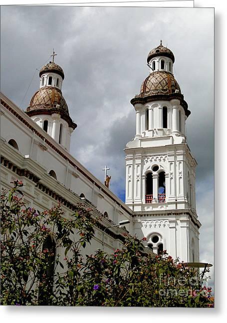 Santo Domingo Spires Greeting Card by Al Bourassa