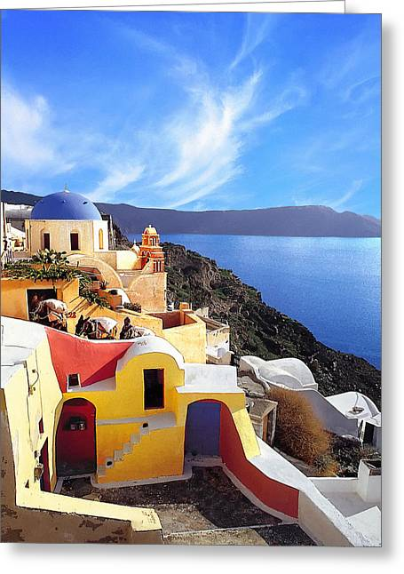 The Church Greeting Cards - Santorini 08 Greeting Card by Manolis Tsantakis