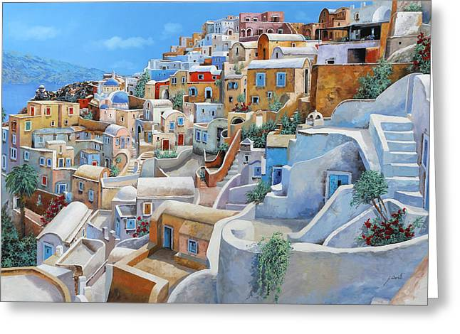 Santorini Greeting Cards - Santorini A Colori Greeting Card by Guido Borelli