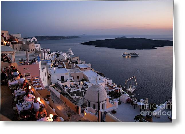 Greek Ruins Greeting Cards - Santorini at Dusk Greeting Card by David Smith