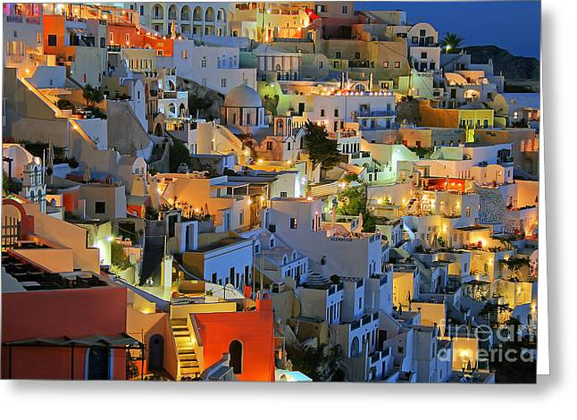 Santorini Greeting Cards - Santorini at Night Greeting Card by Lars Ruecker