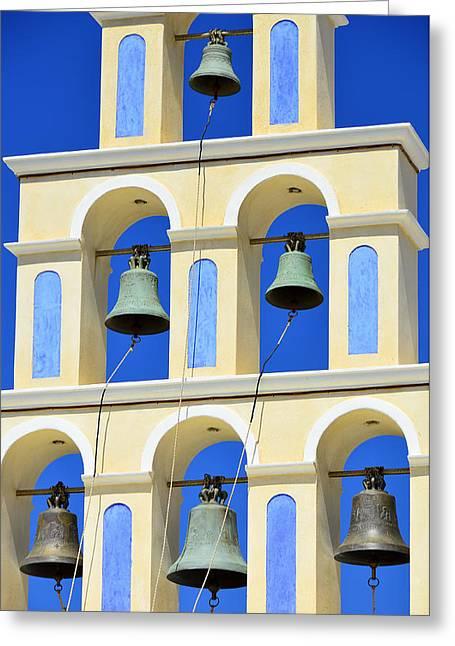 Santorini Bell Tower 2 Greeting Card by Jack Daulton