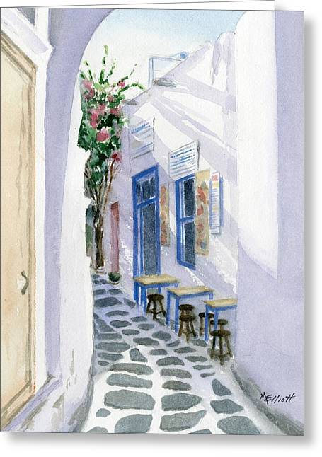 Santorini Cafe Greeting Card by Marsha Elliott