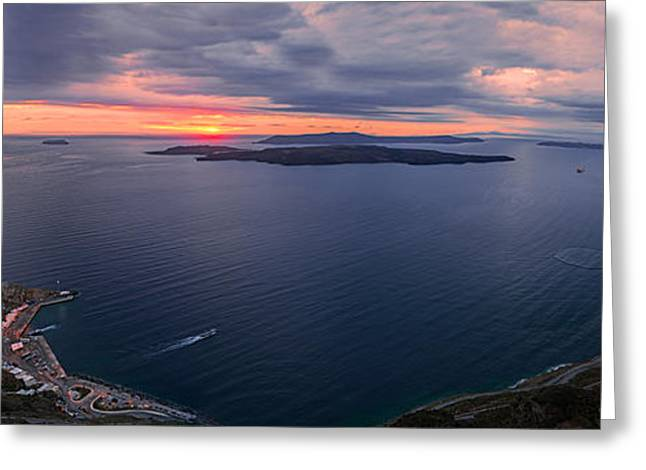 Thirasia Greeting Cards - Santorini Caldera Panorama Greeting Card by Panagiotis Assonitis