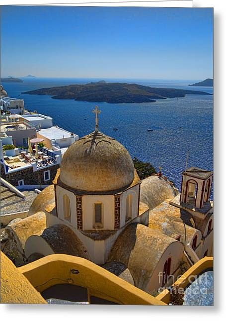 Santorini Greeting Cards - Santorini Caldera with Church and Thira Village Greeting Card by David Smith