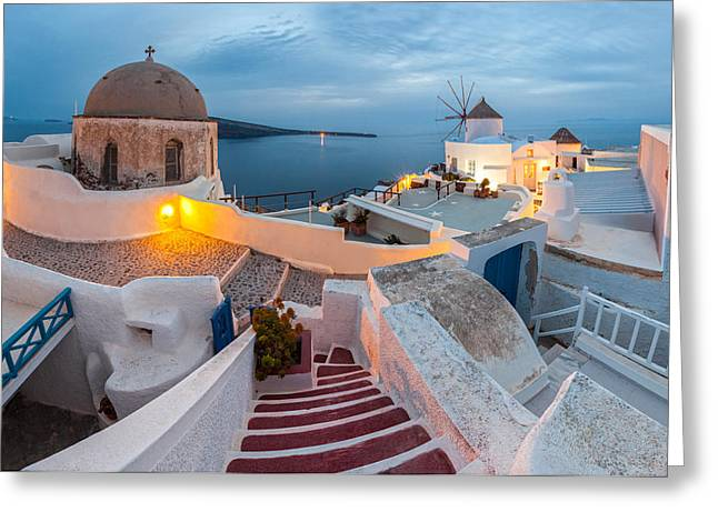 Greece Photographs Greeting Cards - Santorini Greeting Card by Evgeni Dinev