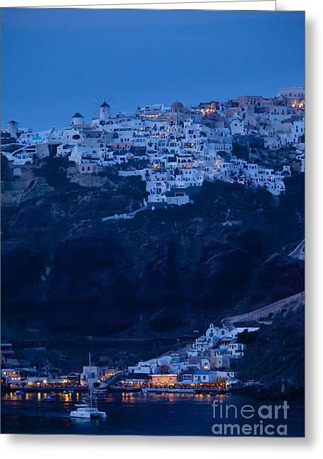 Moonlit Night Greeting Cards - Santorini Greece Greeting Card by Brian Jannsen