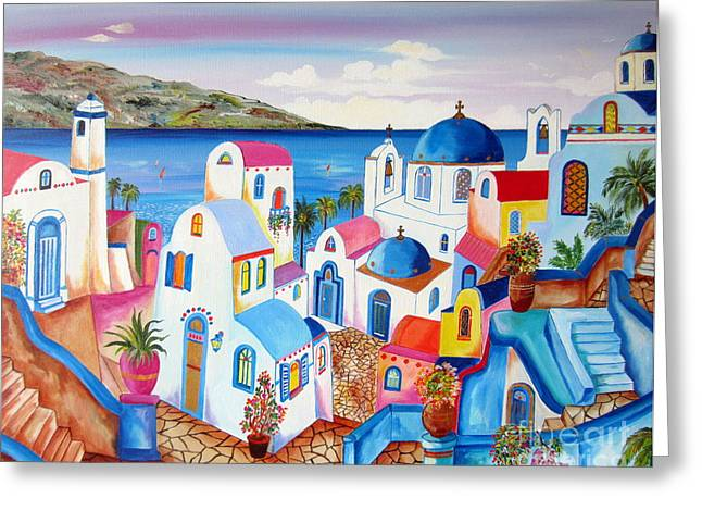 Village By The Sea Greeting Cards - Santorini Greece Greeting Card by Roberto Gagliardi
