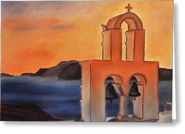 Greek Pastels Greeting Cards - Santorini Greece Sunset Greeting Card by Dimitra Papageorgiou