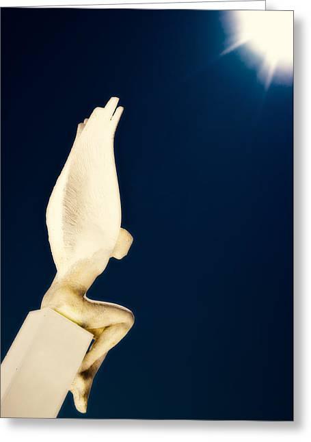 Santorini Guardian Greeting Card by Meirion Matthias