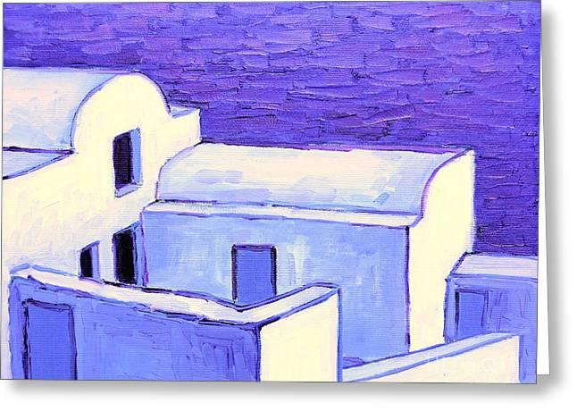 Santorini Houses Greeting Card by Ana Maria Edulescu