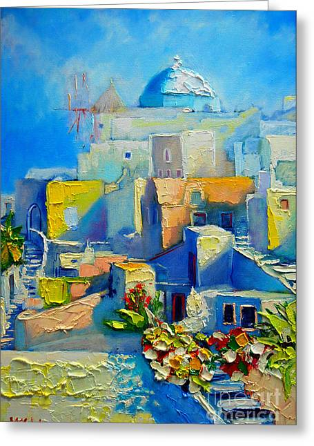 White Paintings Greeting Cards - Santorini Light Greeting Card by Ana Maria Edulescu
