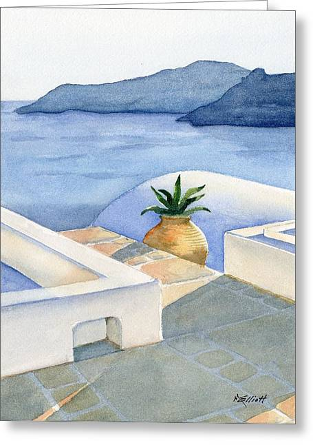 Santorini Greeting Card by Marsha Elliott