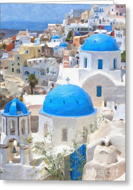 Christian Artwork Digital Art Greeting Cards - Santorini Oil Painting Greeting Card by Antony McAulay