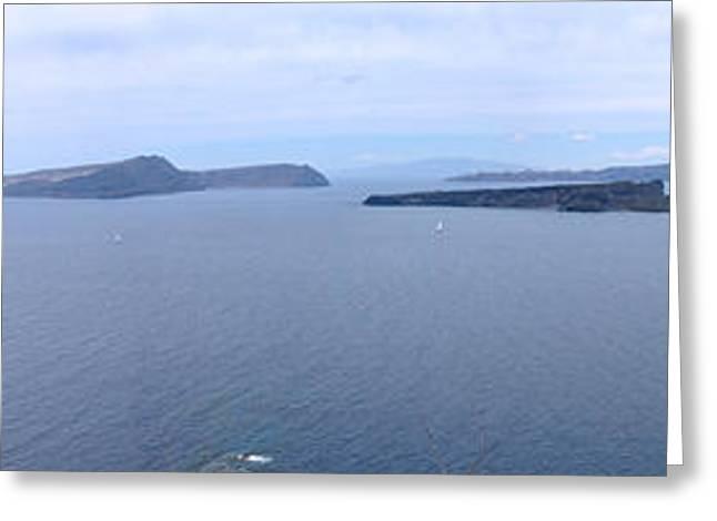 Santorini Panoramic Greeting Card by Kathy Schumann