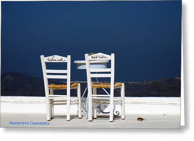 Table Wine Greeting Cards - Santorini Sea View Greeting Card by Alexandros Daskalakis