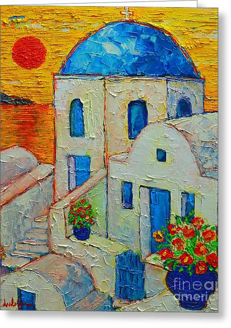 Abstract Expression Greeting Cards - Santorini Sunset Greeting Card by Ana Maria Edulescu