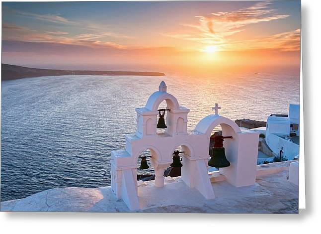 Santorini Greeting Cards - Santorini Sunset Greeting Card by Evgeni Dinev