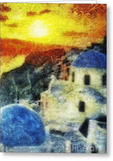 Mo T Mixed Media Greeting Cards - Santorini Sunset Greeting Card by Mo T