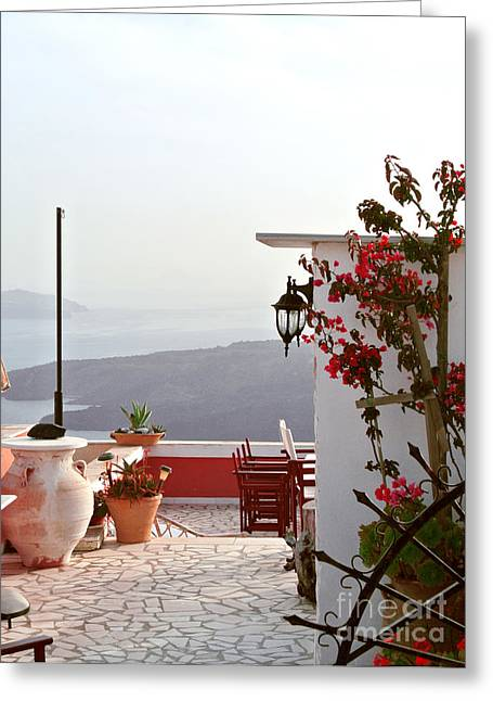 Santorini Terrace Greeting Card by Sarah Christian