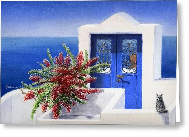 Red Buildings Pastels Greeting Cards - Santorini The Blue Door Greeting Card by Stephanie Woerner