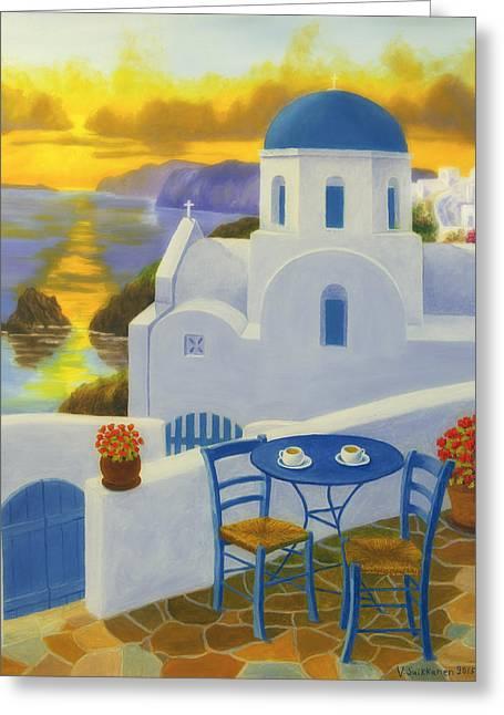 Art For Church Greeting Cards - Santorini Greeting Card by Veikko Suikkanen