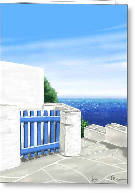 Island Greeting Cards - Santorini Greeting Card by Veronica Minozzi