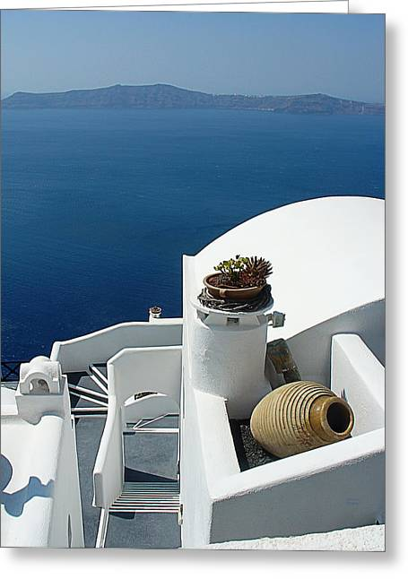 Stone Planter Greeting Cards - Santorini Welcome Greeting Card by Julie Palencia