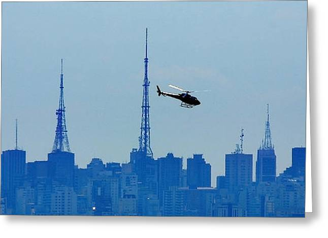 Antena Greeting Cards - Sao Paulo - Paulista Skyline and Helicopter Greeting Card by Carlos Alkmin