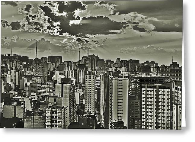 Vale Greeting Cards - Sao Paulo at a cloudy spring dusk - Downtown looking towards Paulista Greeting Card by Carlos Alkmin