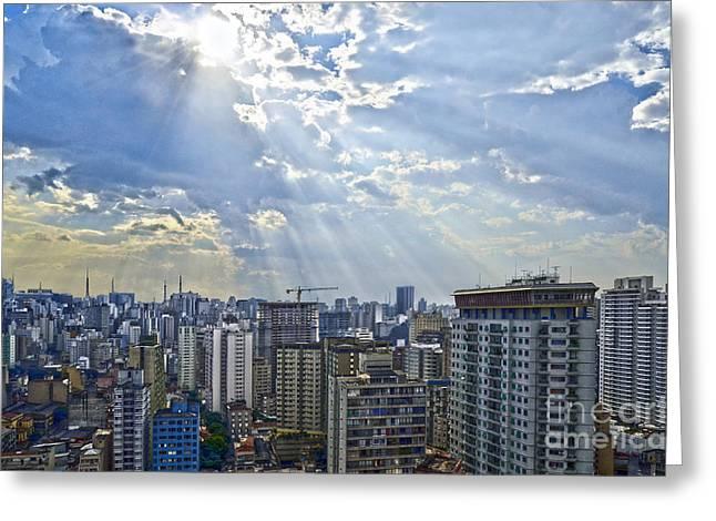 Antena Greeting Cards - Sao Paulo - Raios Divinos Sobre o Paliteiro Greeting Card by Carlos Alkmin