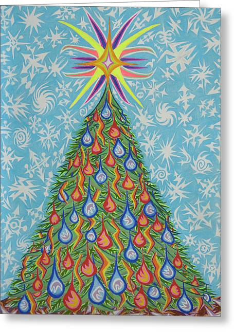 Christianity Pastels Greeting Cards - Sapin Noel Greeting Card by Robert  SORENSEN