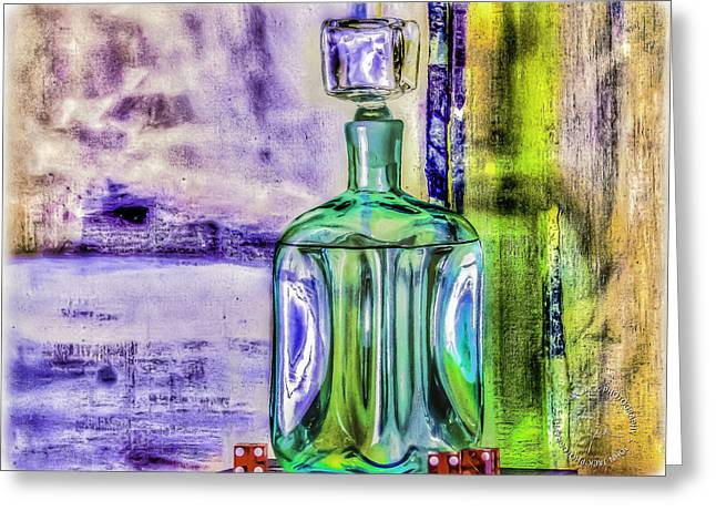 Decanters Digital Art Greeting Cards - Sapphire And Dice. Greeting Card by John Jack