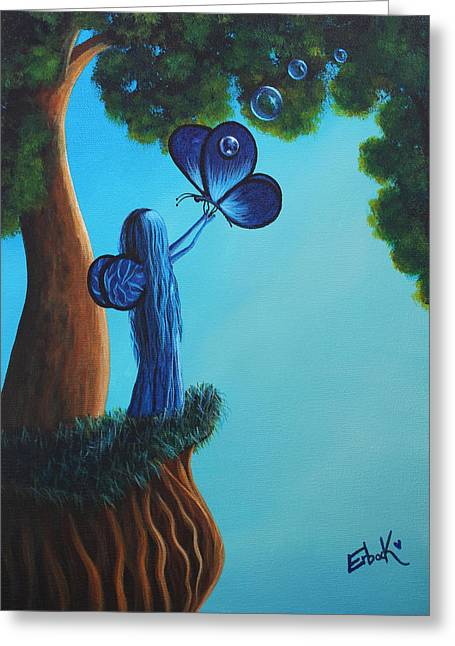 Blue Greeting Cards - Sapphire Fairy Original Whimsical Painting Greeting Card by Shawna Erback