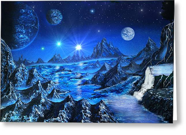 Stellar Paintings Greeting Cards - Sapphire Planet Greeting Card by Michael Rucker