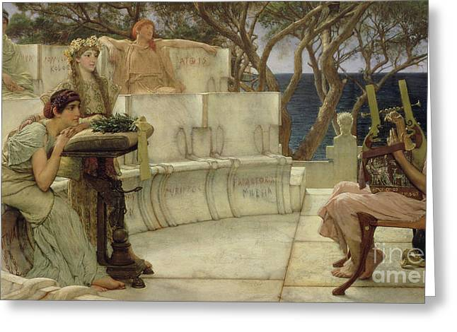 Strumming Greeting Cards - Sappho and Alcaeus Greeting Card by Sir Lawrence Alma-Tadema