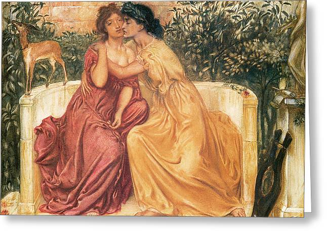 Simeon Greeting Cards - Sappho and Erinna in a Garden of at Mitylene Greeting Card by Simeon Solomon