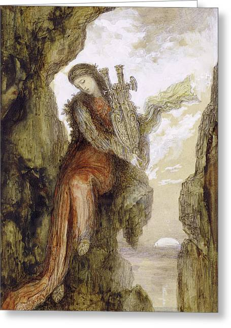Gustave Moreau Greeting Cards - Sappho on the Cliff Greeting Card by Gustave Moreau