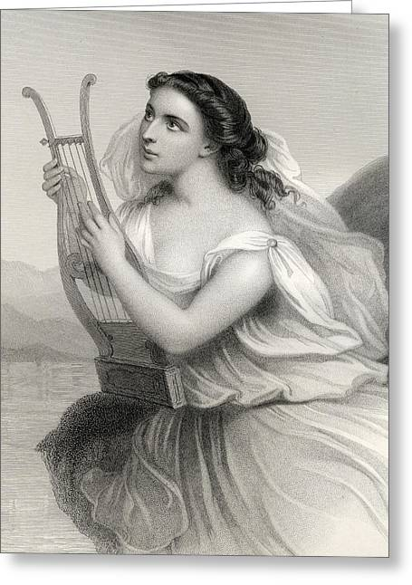 Three-quarter Length Greeting Cards - Sappho,illustration From World Noted Women By Mary Cowden Clarke, 1858 Engraving Greeting Card by Pierre Gustave Eugene Staal