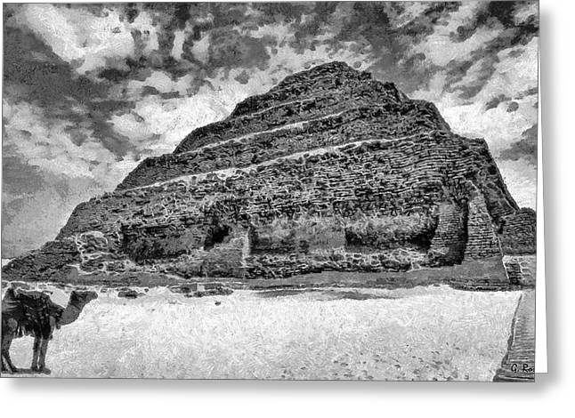 Surreal Landscape Drawings Greeting Cards - Saqqara pyramid Greeting Card by George Rossidis