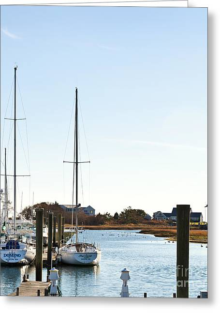 Sailboats Docked Greeting Cards - Saquatucket River Harwich Port Cape Cod Greeting Card by Michelle Wiarda