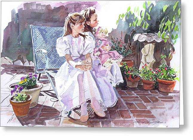 Girlie Greeting Cards - Sara and Erin Foster - Waiting for Lunch Greeting Card by David Lloyd Glover