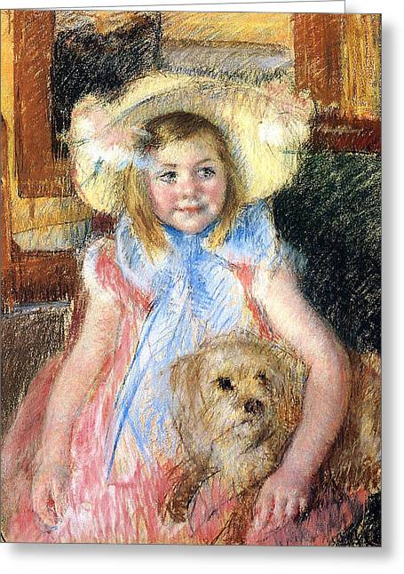 Sara And Her Dog Greeting Card by Mary Stevenson Cassatt