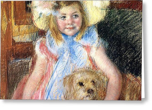 Sara and her Dog Greeting Card by Mary Stevenson Cassatt