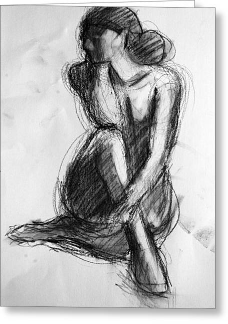 Contemplative Drawings Greeting Cards - Sara Greeting Card by Colleen Gallo