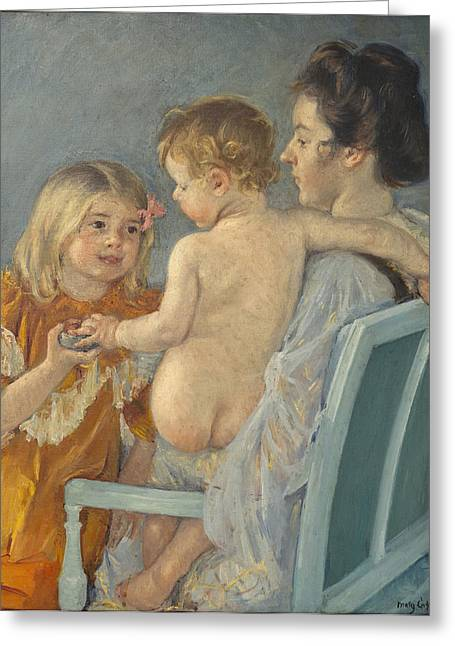 Cassatt Greeting Cards - Sara Handing A Toy To The Baby Greeting Card by Celestial Images