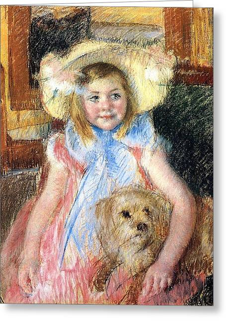 Cassatt Greeting Cards - Sara Holding Her Dog Greeting Card by Marry Cassatt